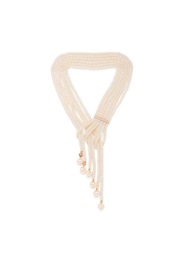 White Necklace In A Layered Wrap Around Design With Agate Beads, Swarovski And Pearls Online - Joules By Radhika