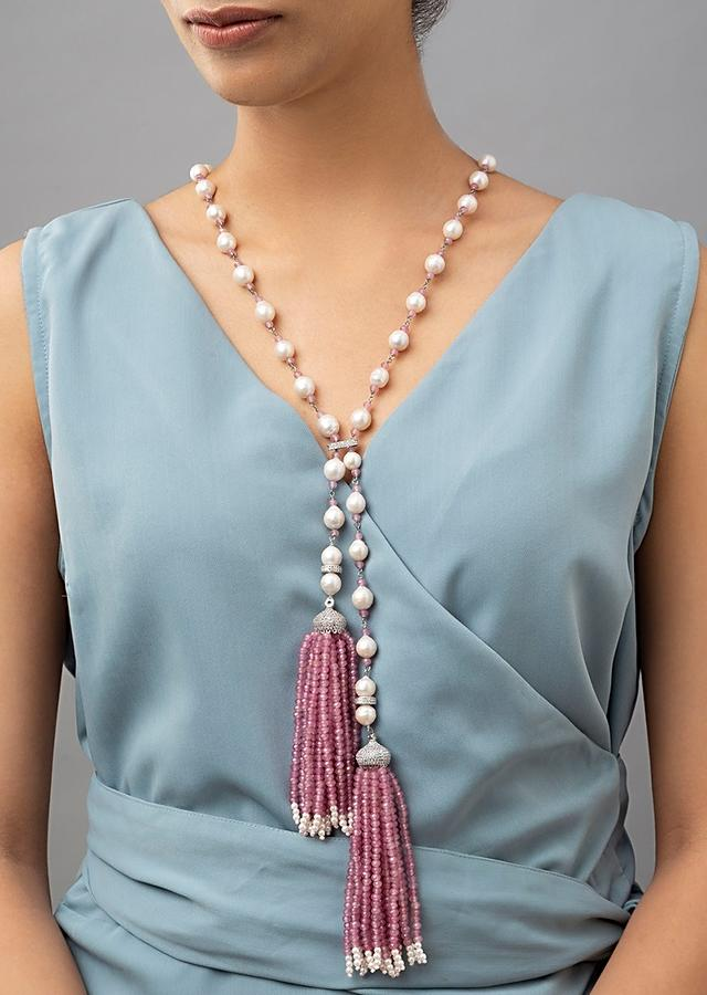 White Necklace With Shell Pearls And Swarovski Along With Agate Tassels Online - Joules By Radhika