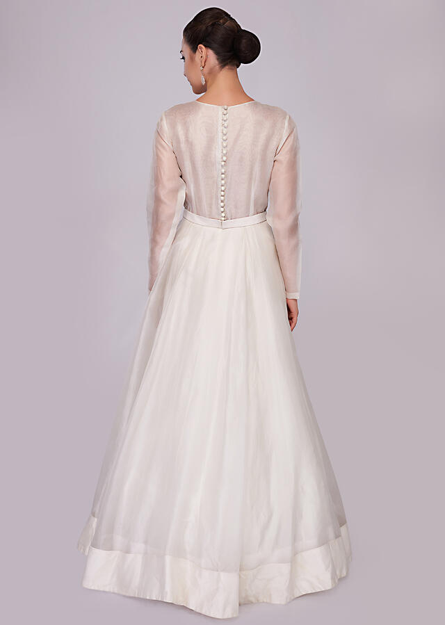 White organza gown with cut dana embroidery on the bodice and side only on Kalki