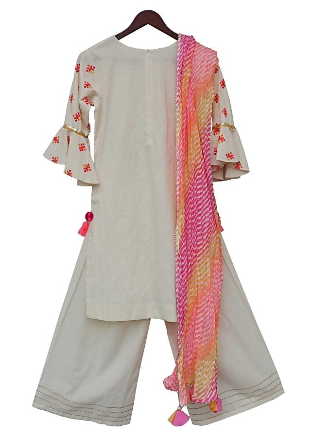 White palazzo suit with embroidered buttis and lehariya printed dupatta By Fayon Kids