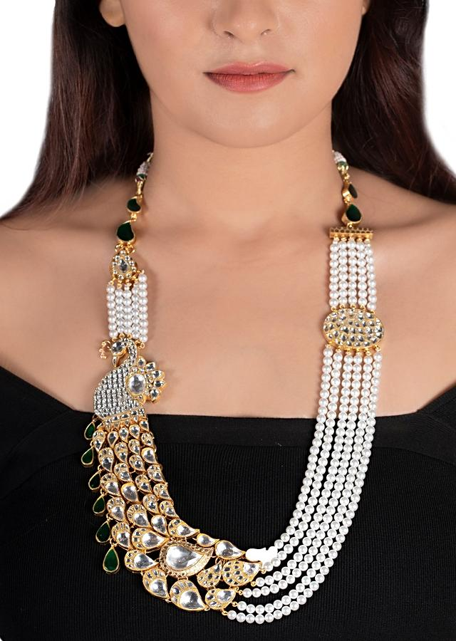 White Peacock Necklace With Kundan And Green Stone Accents Along With Moti Strings By Riana Jewellery