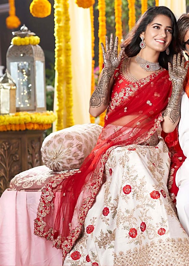 White Lehenga In Raw Silk With Floral Embroidery And Red Blouse And Dupatta Online - Kalki Fashion