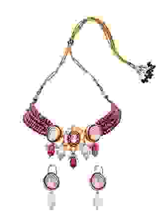 White Red Gold Tone Meenkari Necklace Set Joules By Radhika