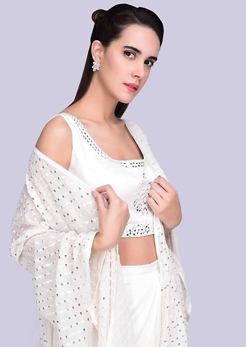 cf791fb1a17ab9 White satin dhoti with mirror embroidered crop top and matching jacket only  on Kalki
