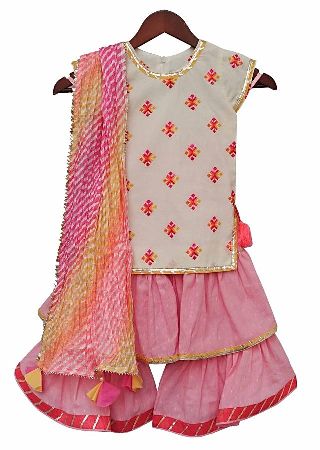White Sharara Suit With Embroidered Buttis And Pink Sharara Bottoms By Fayon Kids