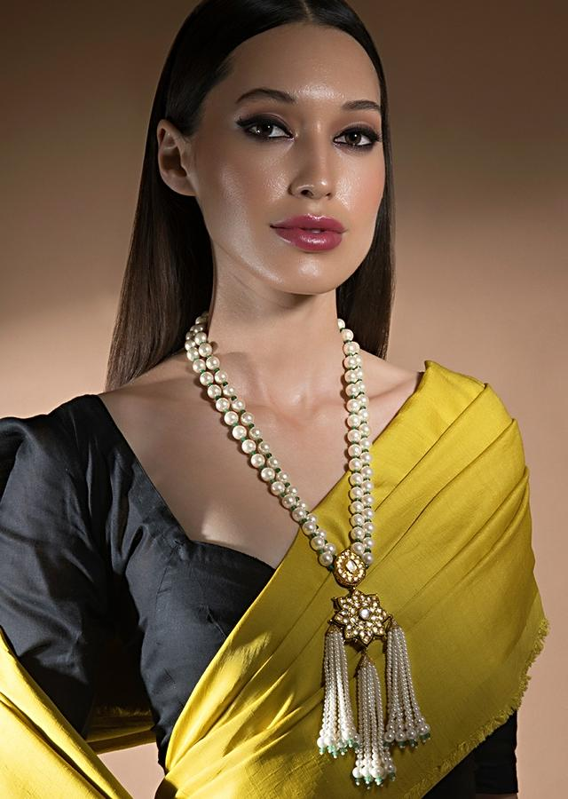 White Shell Pearl Necklace With Kundan Studded Floral Pendant. Swarovski Stone And Tassel Design Online - Joules By Radhika