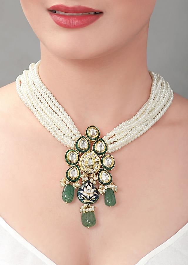 White Shell Pearl Strings Necklace With Kundan, Green Beads And Blue Minakari Pendant   Online - Joules By Radhika