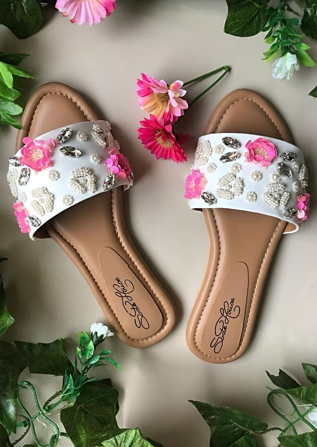 White Slider Flats With Pink Sequin Flowers, Beads And Rhinestone Detailing By Sole House