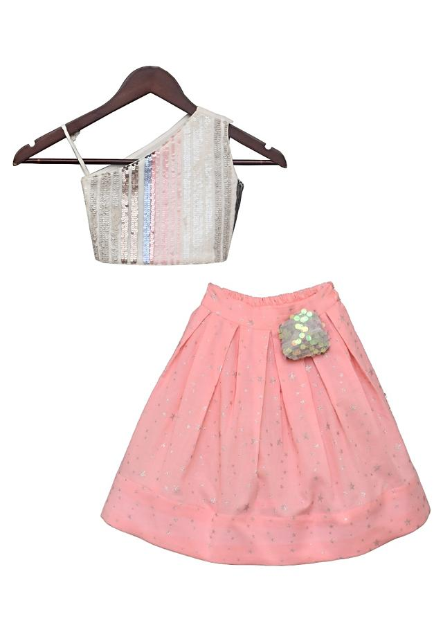 White Top With Soft Sequins And Box Pleat Skirt by Fayon Kids