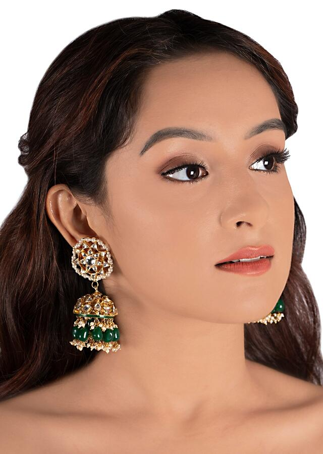 White Square Necklace And Jhumka Set With Big Dark Green Beads And Kundan By Riana Jewellery