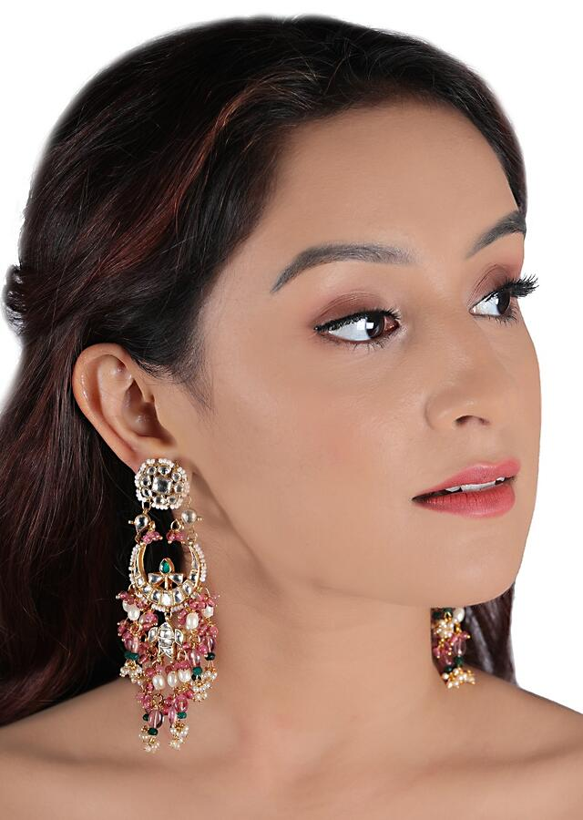 White Stone Necklace And Earrings Set With Red And Green Beads Along With Moti Accents By Riana Jewellery