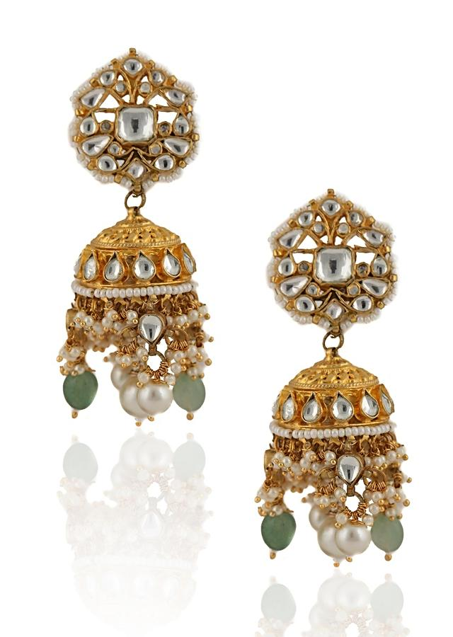 White Stone Necklace And Jhumka Set With Dangling Moti And Sea Green Beads By Riana Jewellery