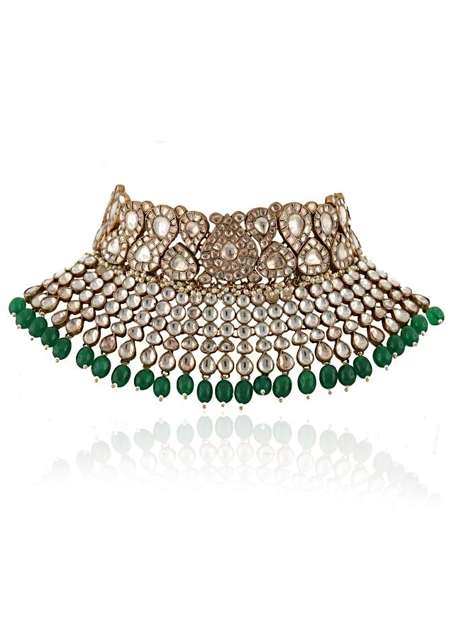 White Stone Necklace And Jhumkas With Dangling Green Beads And Kundan Work By Riana Jewellery