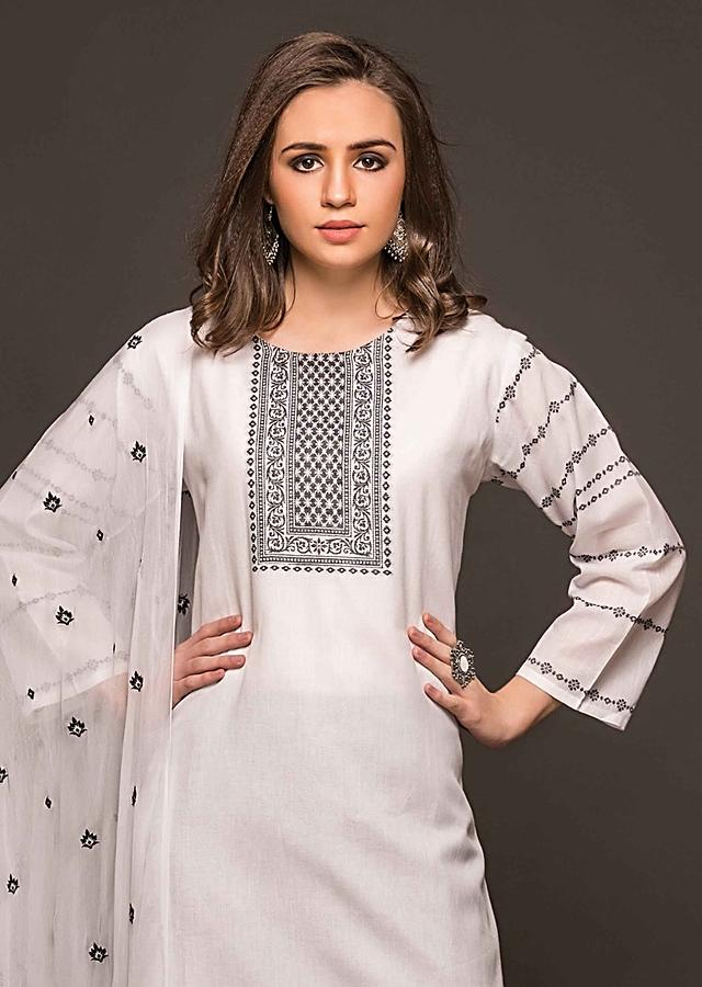 White Unstitched Suit With Weaved Placket And Hem Line Online - Kalki Fashion
