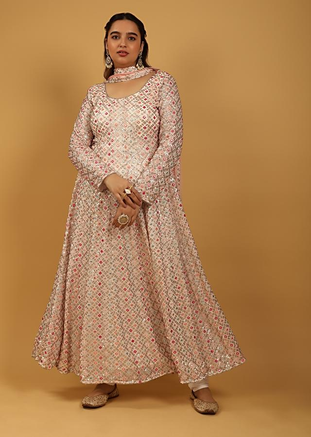 White Anarkali Suit In Georgette With Multi Color Resham And Abla Work All Over Online - Kalki Fashion