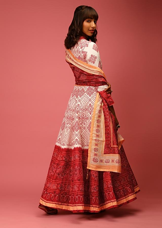 White And Maroon Anarkali Suit In Silk With Bandhani All Over And Tassel Detailing On The Placket Online - Kalki Fashion