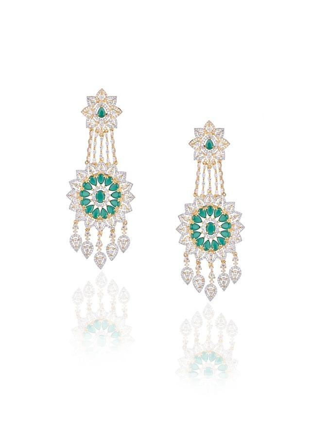 White Finish Long Earrings With Green Stones And Faux Diamonds In Floral Motifs By Aster