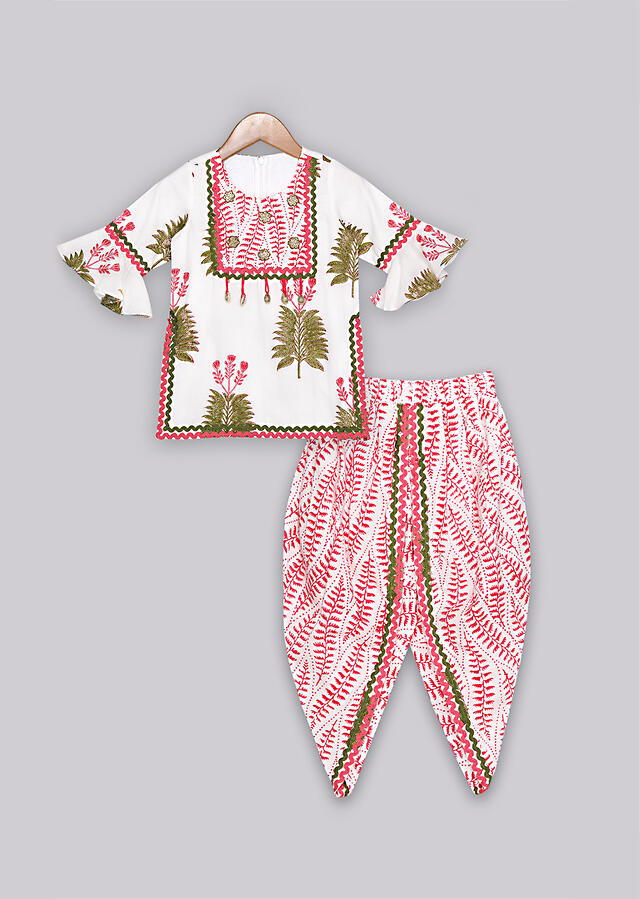 White hand printed cotton dhoti suit set with contrasting red dupatta Online - Free Sparrow