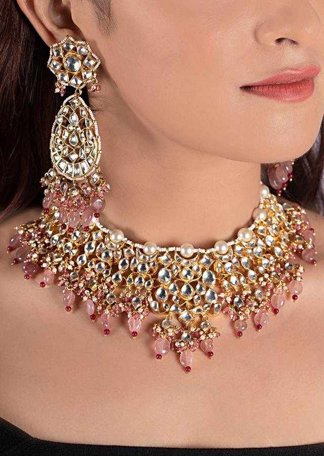 White Jadtar Stone Necklace And Earrings With Moti Work And Light Pink Beads By Riana Jewellery