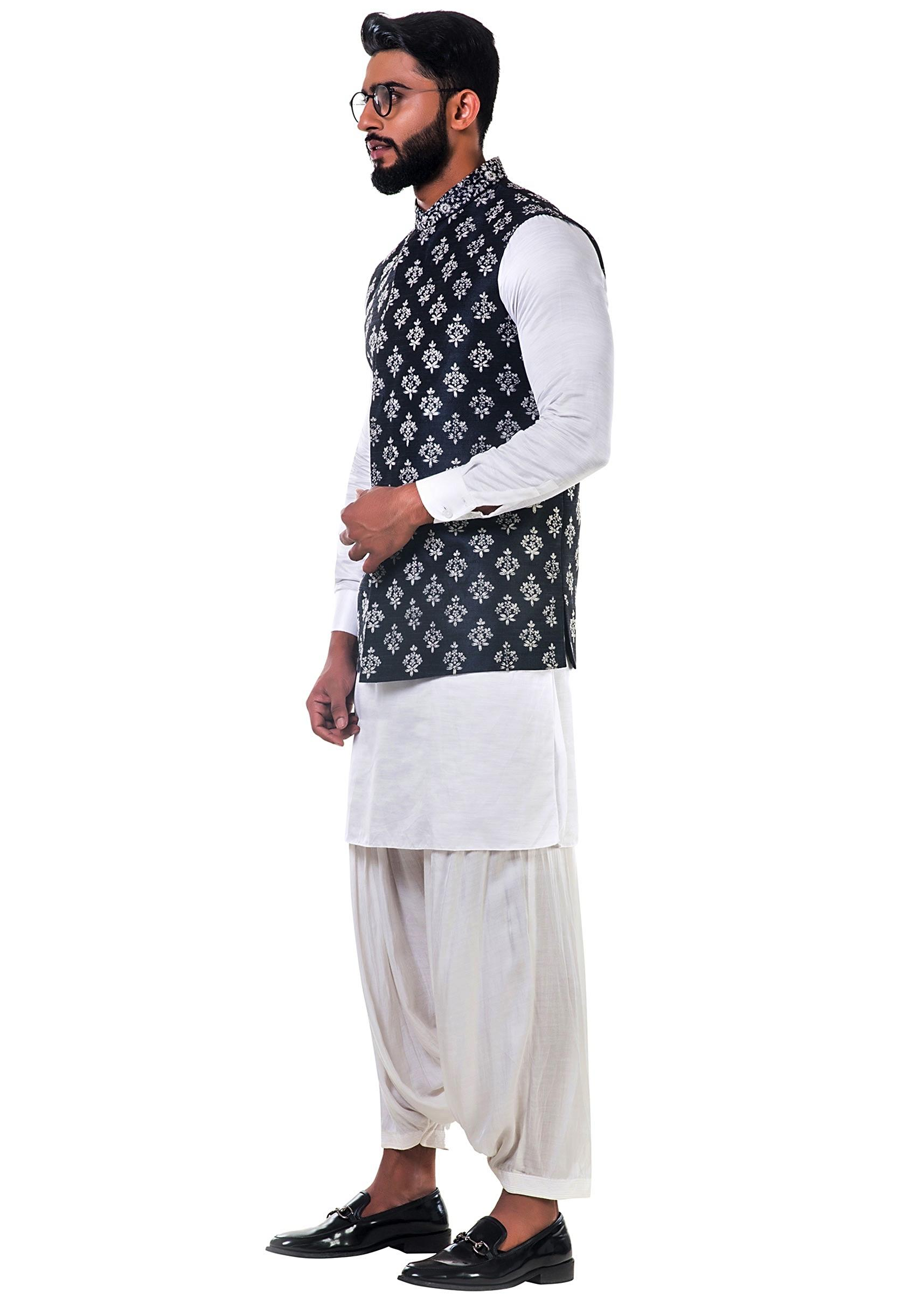4beb172c31 White linen satin kurta set with a black silk nehru jacket with white cord  floral embroidery ...
