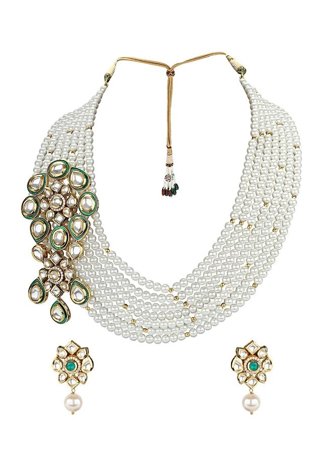 White Necklace Set With Shell Pearls And Imitation Polki Online - Joules By Radhika