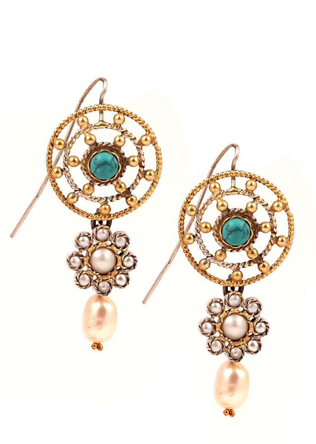 White Pearl & Turquoise Earrings In Gold Plated Round And Floral Design Made In Sterling Silver By Sangeeta Boochra