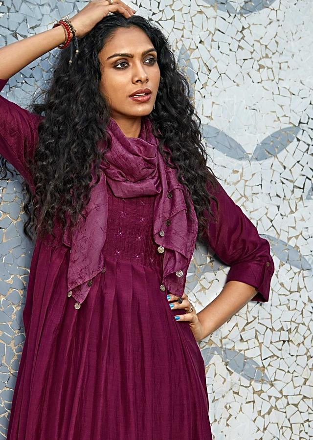 Wine A Line tunic In Cotton With Batik Print On The Hemline Along With Badla Work Online - Kalki Fashion