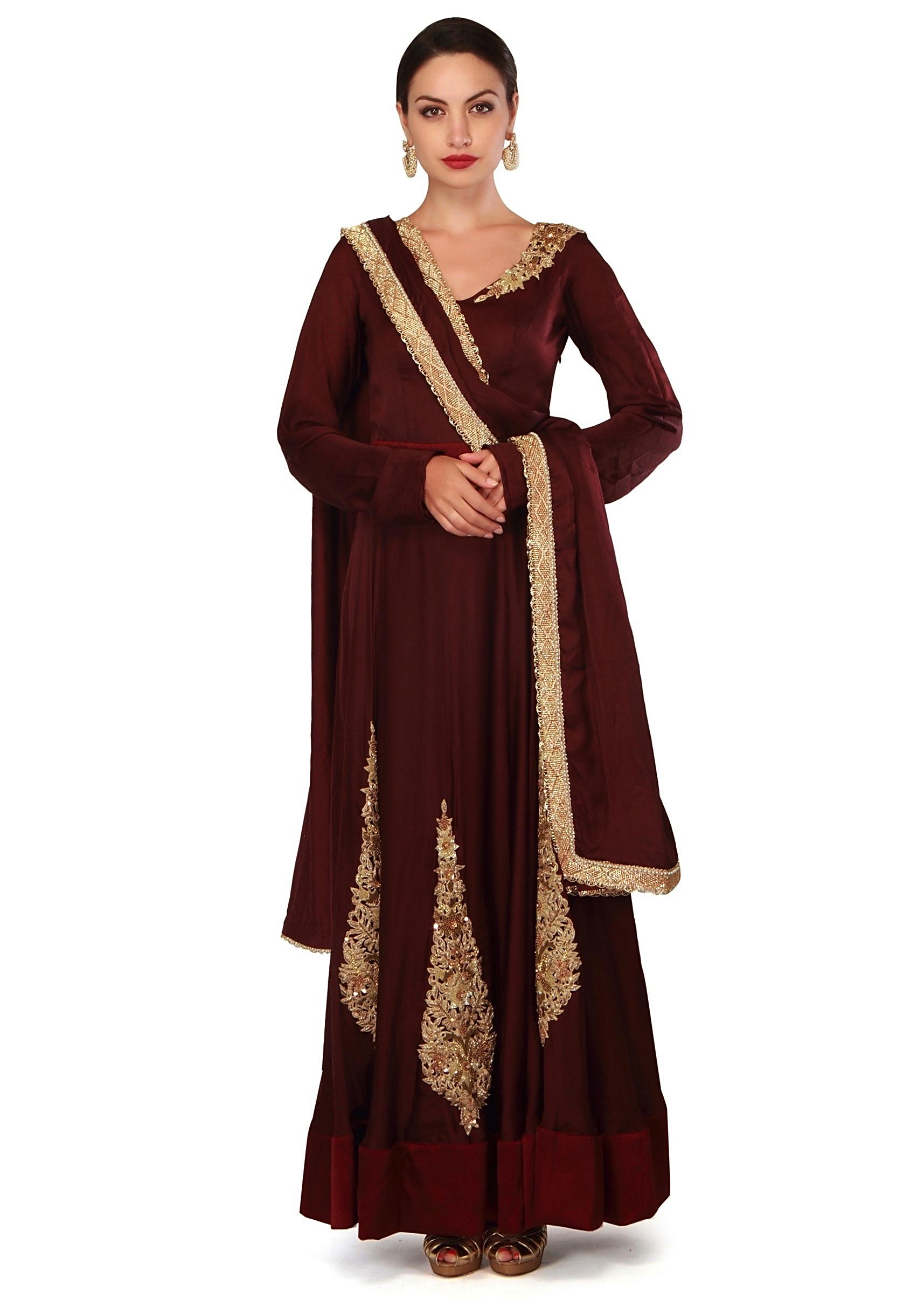 607072942 Wine anarkali suit adorn in french knot embroidery only on KalkiMore Detail