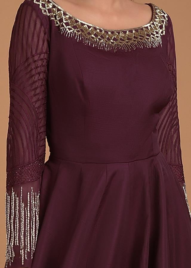 Wine Anarkali Suit With Embroidered Neckline In Cut Dana And Sequins Online - Kalki Fashion