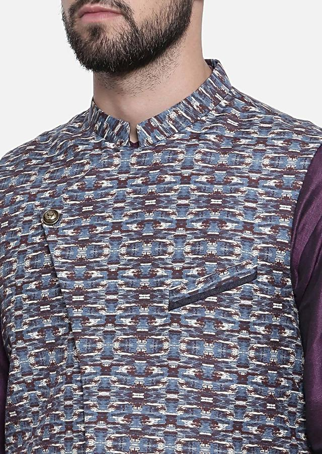 Wine And Blue Nehru Jacket In Linen With Retro Print And Overlapping Style Placket By Mayank Modi