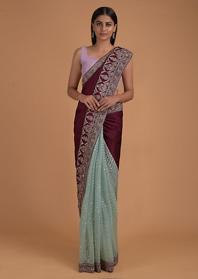 Wine And Turq Half And Half Saree With Satin Pallu And Net Pleats With Scallop Embroidery Online - Kalki Fashion