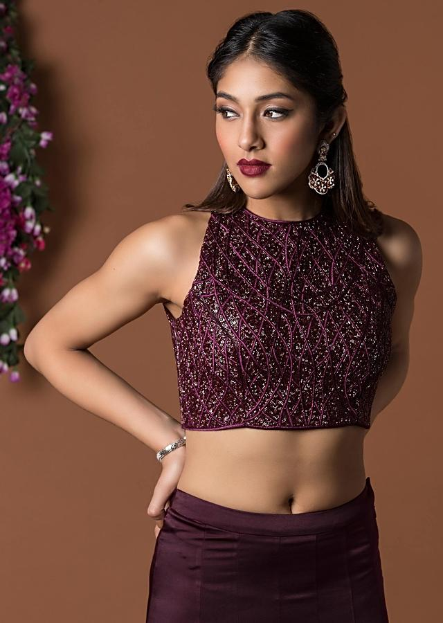 Wine Colour Embellished Crop Top With Fitted Ruffled Fish Cut Skit Online - Kalki Fashion