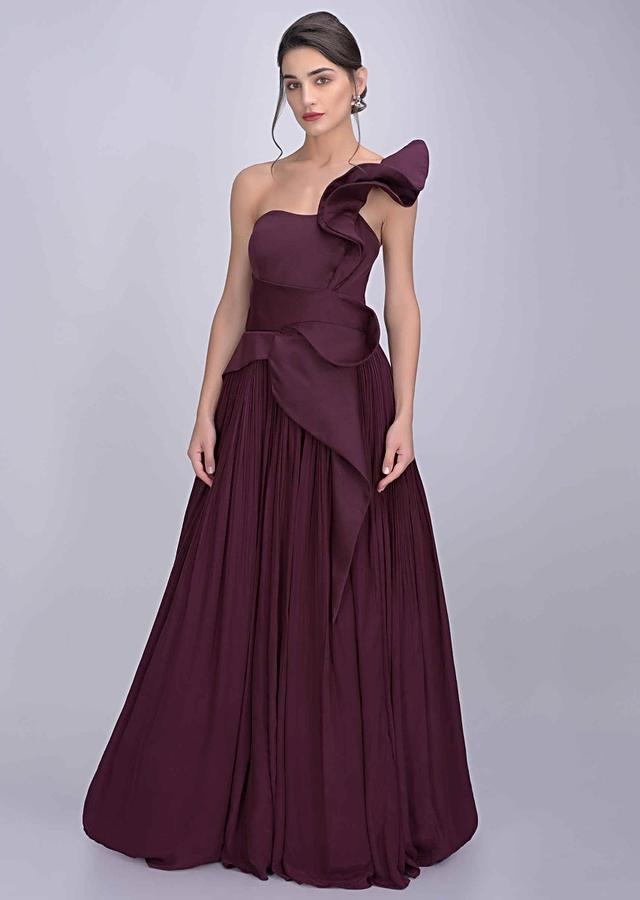 Wine Gown In Crepe And Dupion With Fancy Ruffle Details Online - Kalki Fashion