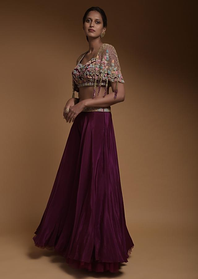 Wine Crop Top And Palazzo With Embossed Embroidery And Hand Crafted Cape Online - Kalki Fashion