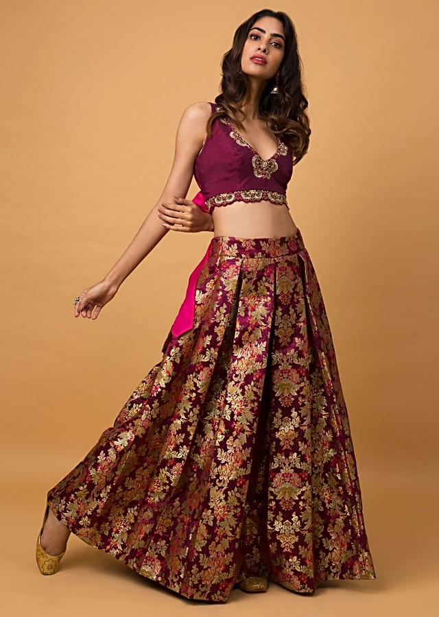 Wine Crop Top And Skirt In Brocade Silk With Weaved Jaal All Over Online - Kalki Fashion
