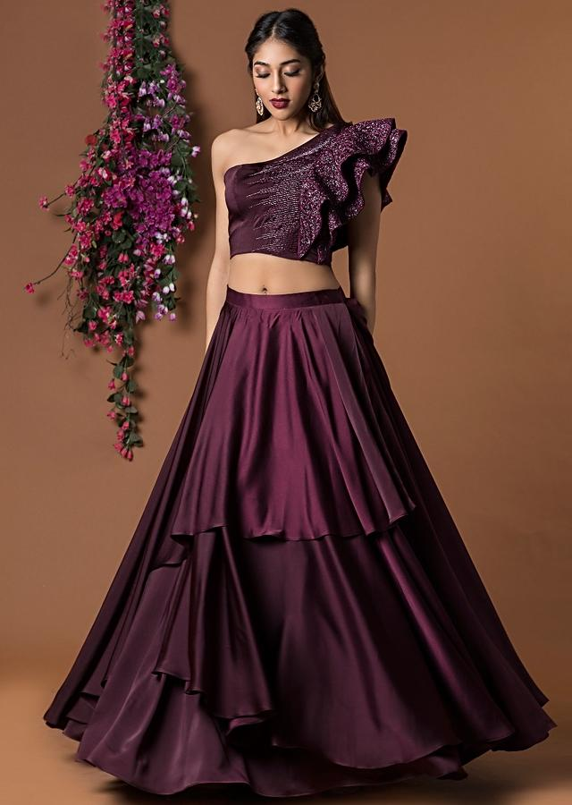 Wine Crop Top With Double Ruffle Sleeves And Layered Skirt Online - Kalki Fashion