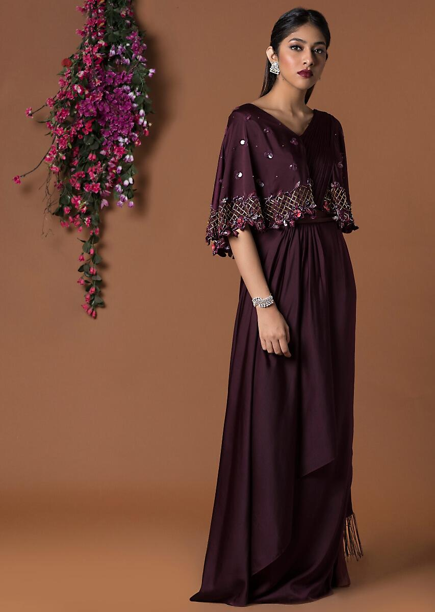 Buy Wine Draped Sari Gown With Embellished Cape Sleeves Online Kalki Fashion