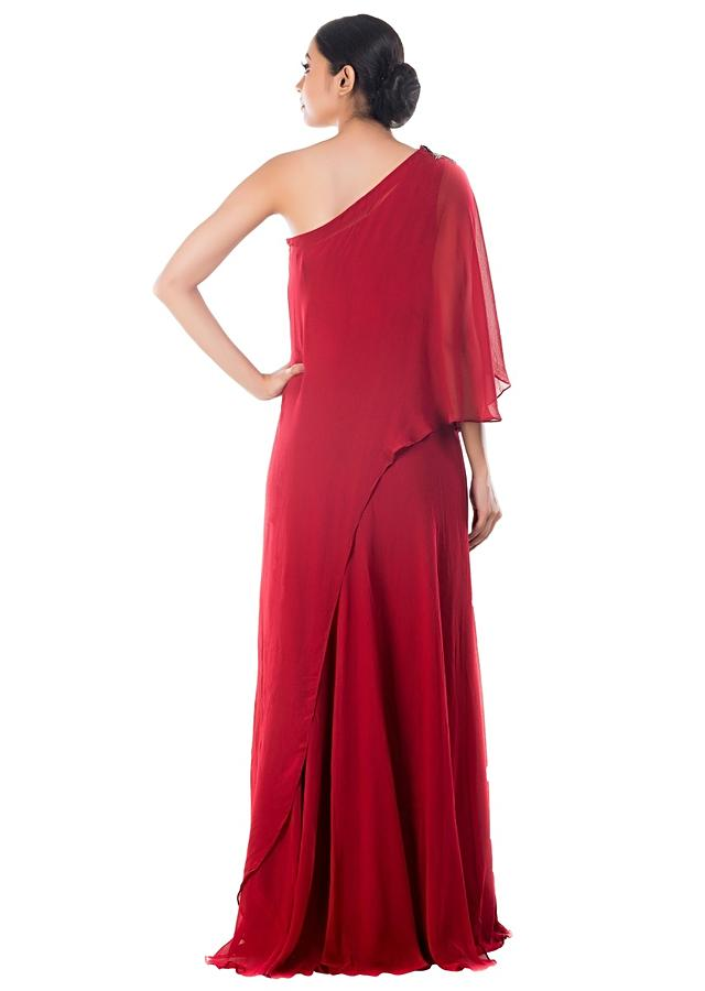 Wine Drop Shoulder Cape Dress Online - Kalki Fashion