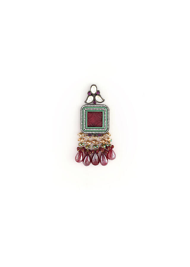 Wine Earrings With Carved Stones, Bead Fringes And Wine Colored Drops By Kohar