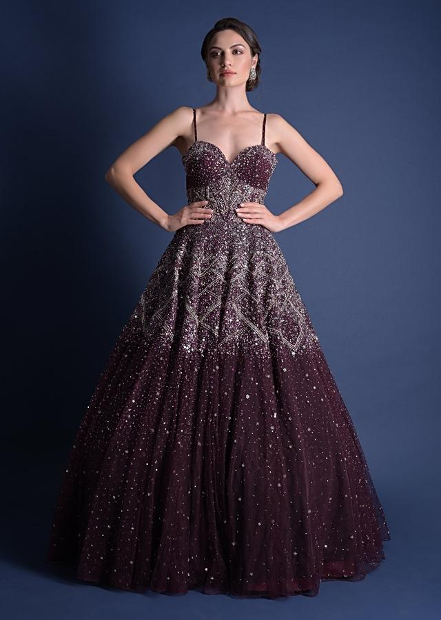 Jewel-toned Cassis Gown In Hand Embellished Net With Geometric Motifs And Deep Cut Back Online - Kalki Fashion
