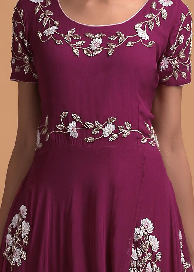 Wine Indowestern suit In Georgette With Sequins And Beads Embroidered Floral Motifs Online - Kalki Fashion