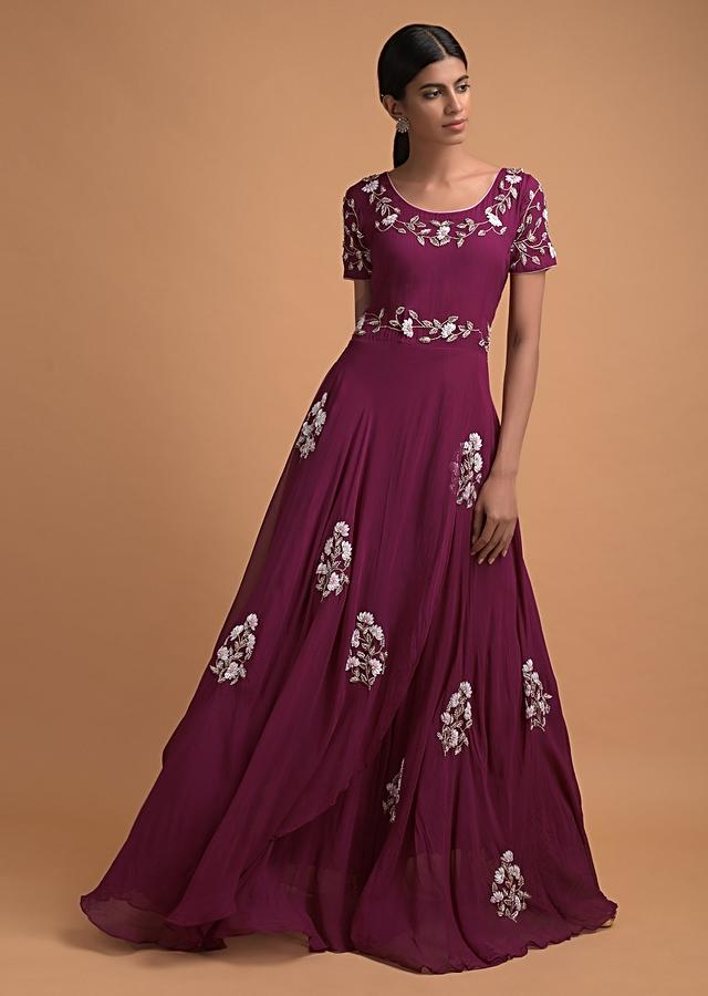 Wine Indowestern Gown In Georgette With Sequins And Beads Embroidered Floral Motifs Online - Kalki Fashion