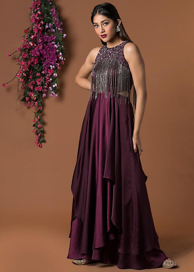 Wine Layered Gown With Self Embroidery And Tassel Embellishment Online - Kalki Fashion