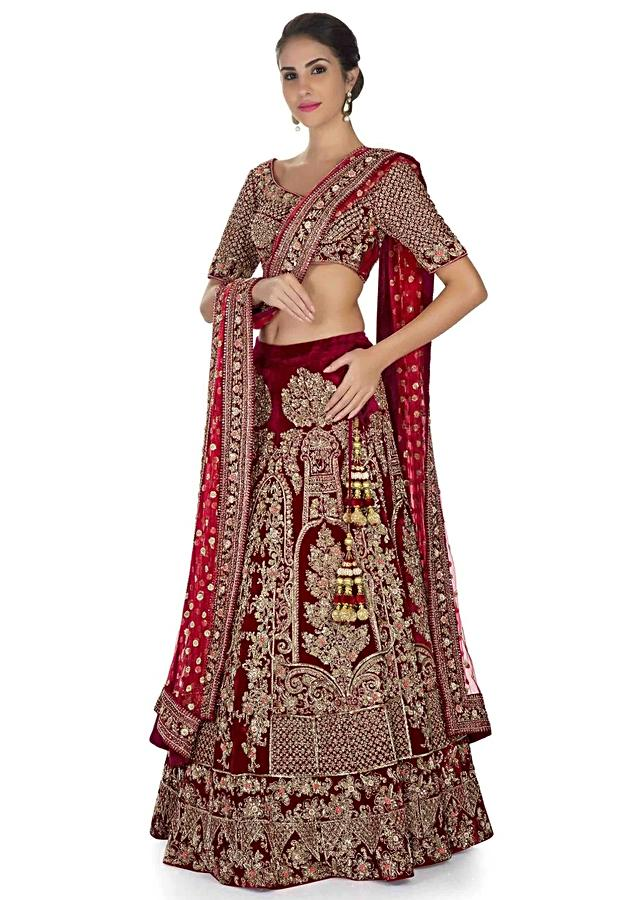 Maroon Lehenga With Pink Dupatta In Floral Embellishment Online - Kalki Fashion