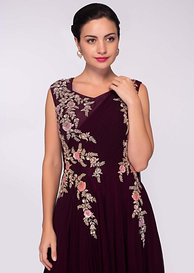Wine Gown In Lycra Net With Floral Embroidered Bodice Online - Kalki Fashion