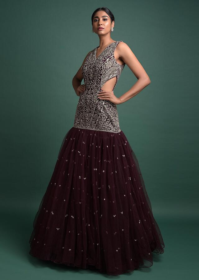 Wine Mermaid Cut Gown Hand Crafted In Net With Embellished Geometric Motifs Online - Kalki Fashion