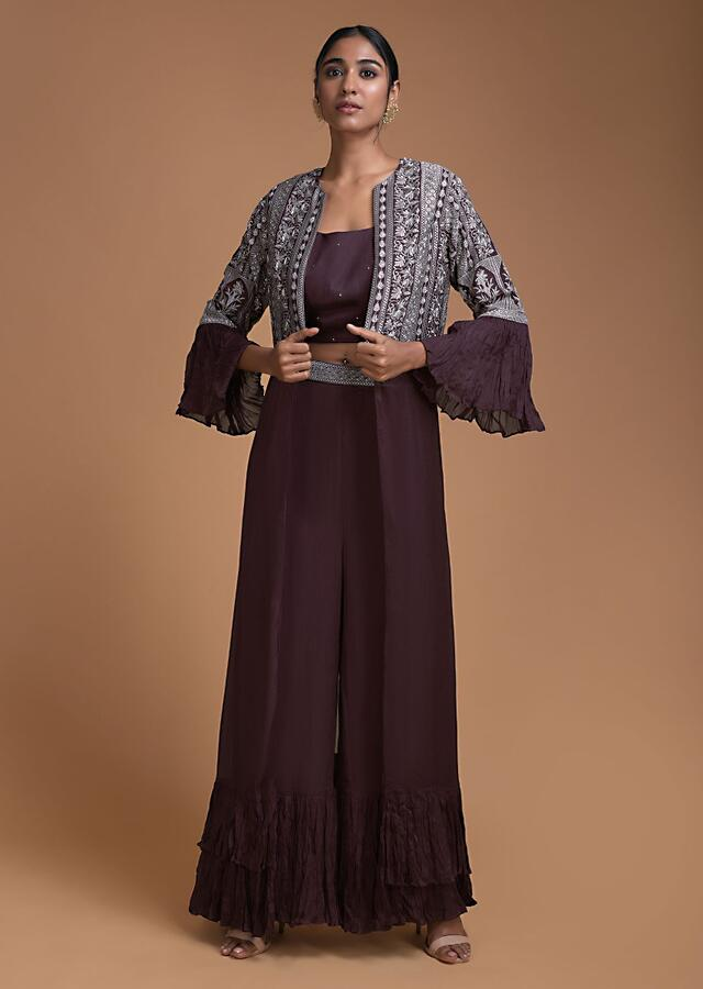Wine Palazzo And Crop Top Set With Embroidered Long Jacket Online - Kalki Fashion
