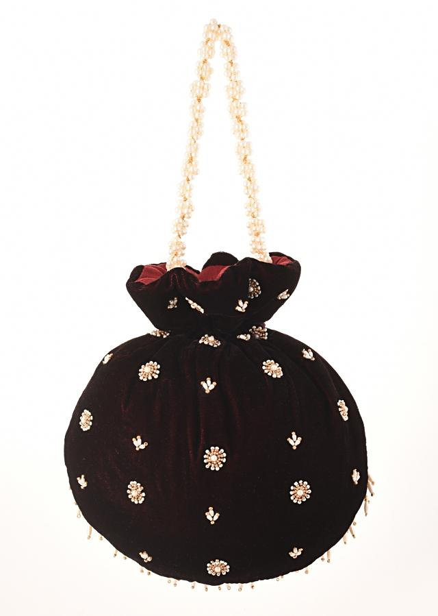 Wine Potli In Velvet Heavily Embroidered With Beads And Moti Work In Scalloped And Tassel Design By Shubham