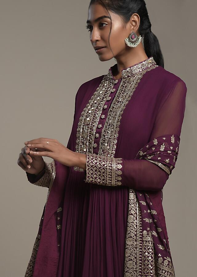 Wine Purple Anarkali Suit In Georgette With An Elaborate Sequins And Zardosi Embroidered Border And Placket Online - Kalki Fashion