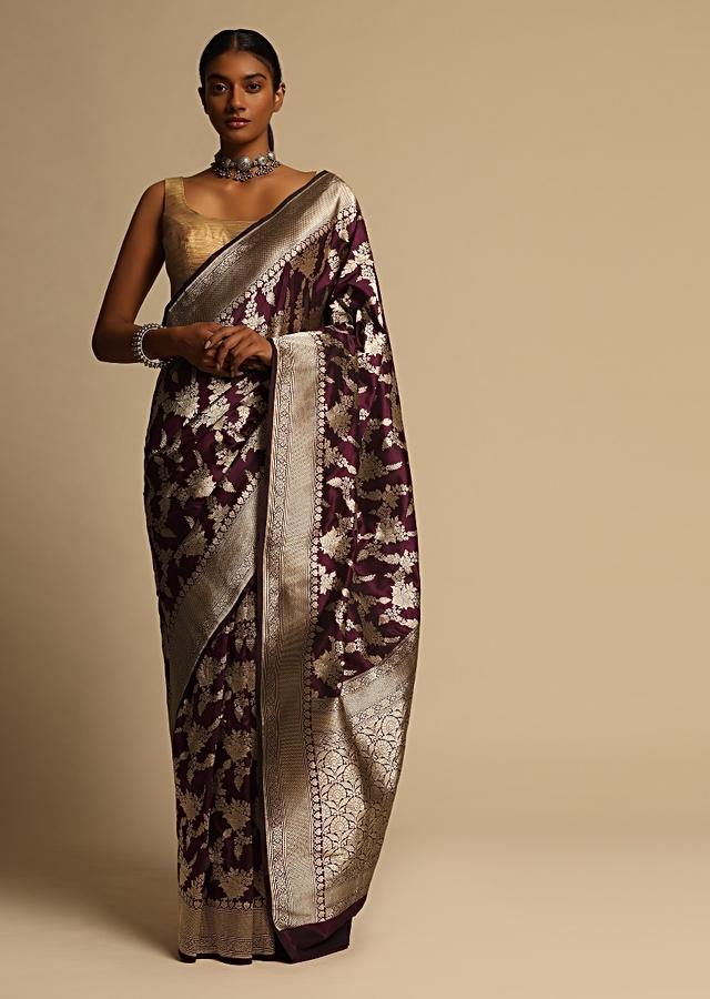 Wine Purple Banarasi Saree In Pure Handloom Silk With Woven Floral Jaal And Floral Border Along With Unstitched Blouse Piece Online - Kalki Fashion